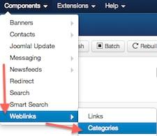 Joomla 3.0 Weblinks - Categories in Component Manager