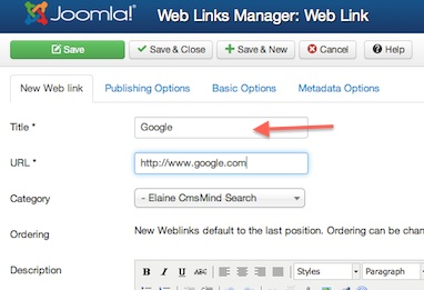 Joomla 3.0 - Enter new details of your new Weblink in Weblink Link Manager