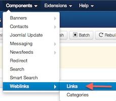 Joomla 3.0 - Weblinks Manager in Extensions Manager