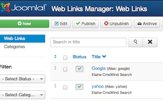 Joomla 3.0 Links in the Weblinks Manager