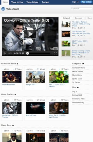 responsive youtube clone movie sharing template wordpress theme videocraft Cost to Create a Youtube Clone with Wordpress Theme   VideoCraft