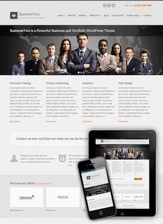 business template portfolio template wordpress theme businesstwo Cost to Make a Business Portfolio Website with Wordpress   BusinessTwo