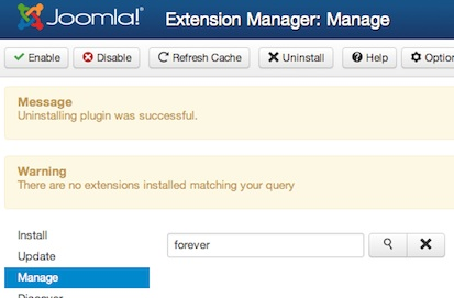 Joomla 3.0 - Successfully uninstalled Plugin in Extension Manager
