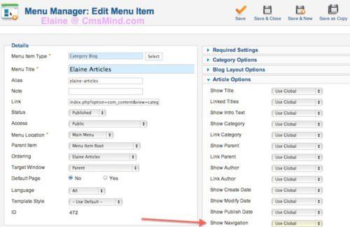 Joomla 2.5.8 Tutorial - Edit Category Blog Menu Item Article Options Navigation - Set to 'Use Globa'l'