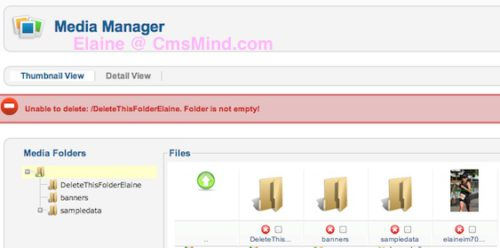 joomla 2 5 8 tutorial how to delete images folder in media manager error folder not empty 2 Joomla 2.5 Tutorial   How to Delete Folder in Media Manager