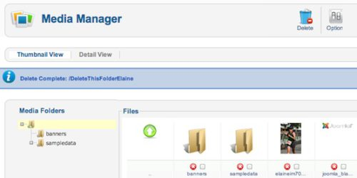 joomla 2 5 8 tutorial how to delete images folder in media manager successful 6 Joomla 2.5 Tutorial   How to Delete Folder in Media Manager