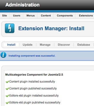 Joomla 2.5 Install Component in Extension Manager Successful
