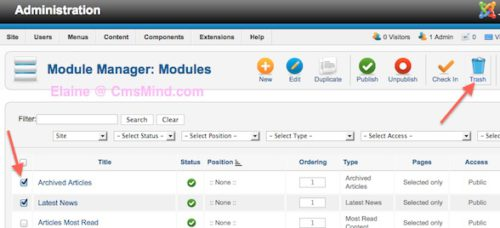 Joomla 2.5 Delete Modules from Module Manager