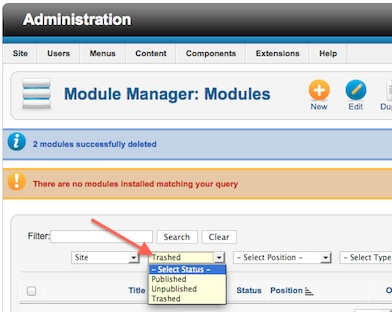 Joomla 2.5 Module Manager Trash Manager Change Status back to 'Select Status'