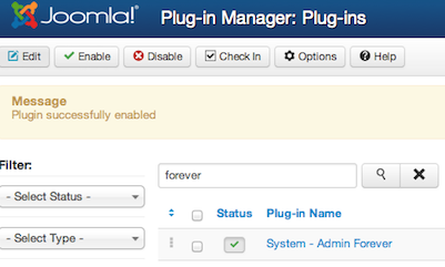 Joomla 3.0 Plugin successfully enabled - Admin Forever