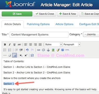 Joomla 3.0 Add Anchor to Article - Highlight where you want anchor placed