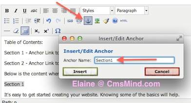 Joomla 3.0 - Add anchor to article - Insert/edit anchor
