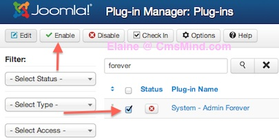 Joomla 3.0 - Enable Plugin in Plugin Manager - Admin Forever