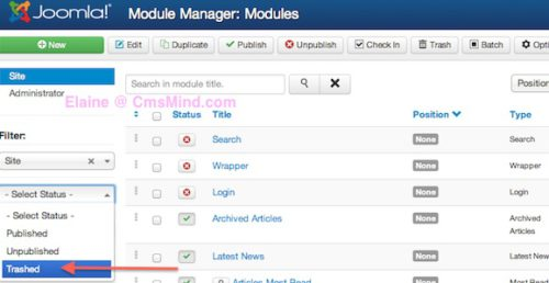 Joomla 3.0 Module Manager Select Trashed Status