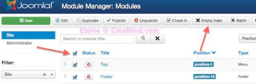Joomla 3.0 Select Items and Empty Trash in Module Manager