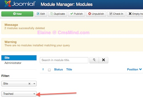 Joomla 3.0 - Module Manager select Trashed and change back to select status