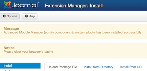 Joomla 3.0 - Install Component Successful