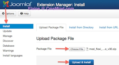 Joomla 3.0 Install Module upload and install