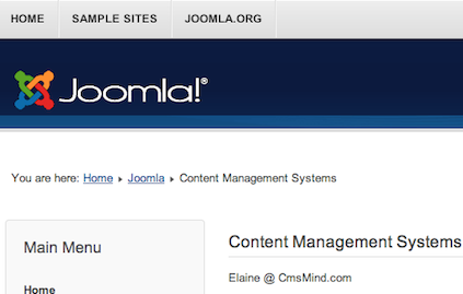 Joomla 3.0 Site with Breadcrumbs