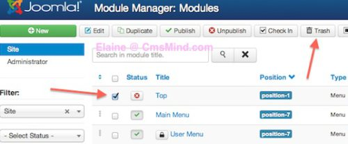 joomla 3 remove top menu delete trash top menu module 5 Joomla 3.0   How to Delete the Top Menu in Joomla