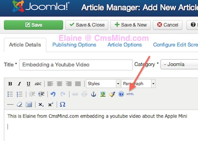 joomla 3 tutorial embed youtube video into article iframe code edit article html 2 How to Embed a Video From YouTube into Joomla 3.0 Articles