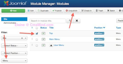 joomla 3 tutorial filter menu unpublish top menu module Joomla 3.0   How to Delete the Top Menu in Joomla