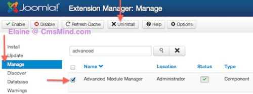 joomla 3 uninstall component extension manager 1 Joomla 3.0   How to Uninstall a Component in Joomla