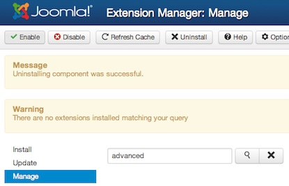 joomla 3 uninstall component extension manager 2 Joomla 3.0   How to Uninstall a Component in Joomla
