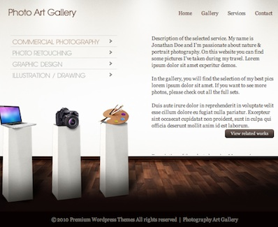 photo gallery portfolio wordpress theme photo art gallery 2 Cost to Make a Portfolio Website with Wordpress   Art Gallery