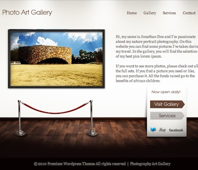 Photography Portfolio WordPress Theme Main page - Art Gallery