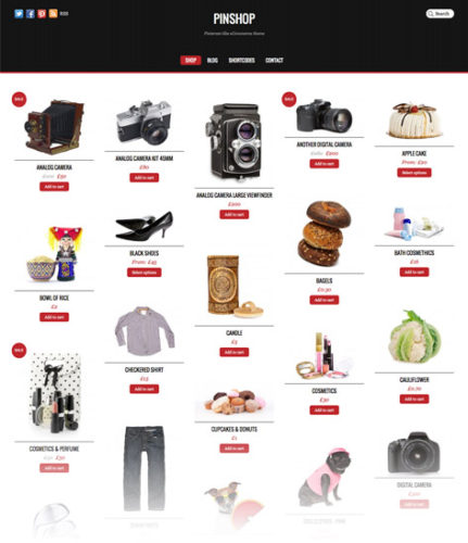 pinterest inspired online store ecommerce pinshop Best Ecommerce Themes