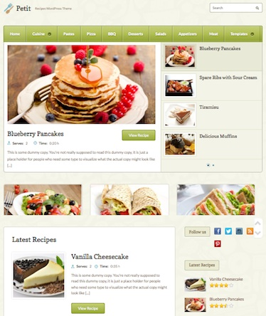 responsive recipe website wordpress theme petit Cost to Make a Recipe Website with Recipe Template   Petit