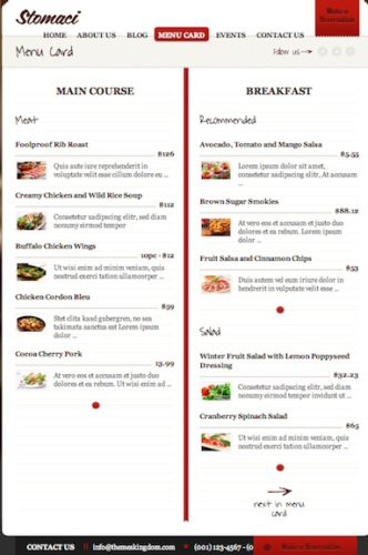 restaurant template cafe wordpress theme stomaci menu card2 Cost to Create a Cafe Website with Wordpress   Stomaci