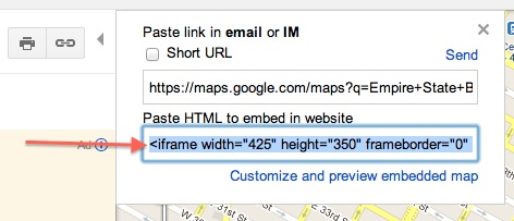 Copy Google Maps HTML To embed into WordPress Post / Page