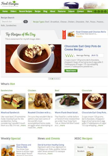 Food Recipe WordPress Theme - Food Recipe