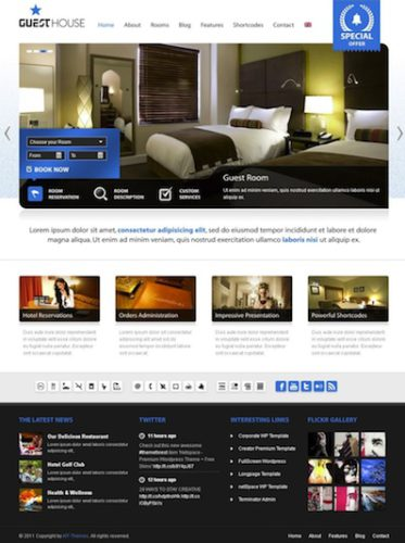 hotel vacation rental inn motel template wordpress theme guest house Cost to Make a Hotel Reservation Website with Wordpress   GuestHouse