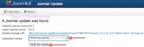 Joomla 3.0.3 Update Available.  Install Update.