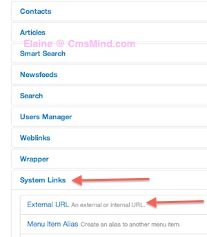 Joomla 3.0 Create Menu Link to URL - Menu Type=External URL