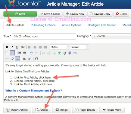Joomla 3.0 - Link to Another Article, click on Article