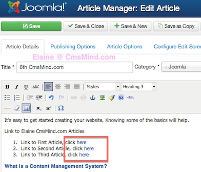 Joomla 3.0 - How to link to an article in Joomla
