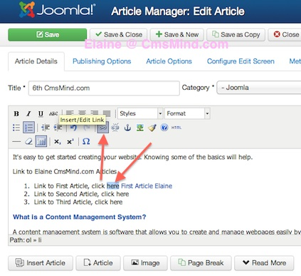 Joomla 3.0 How to link to an article - select word to link