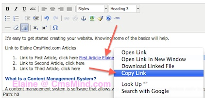 Joomla 3.0 How to link to an article. Copy Link