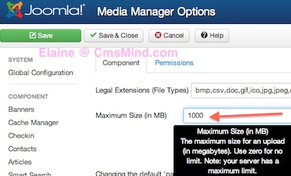 Joomla 3.0 Increase Max Upload File Size in MB in Media Manager