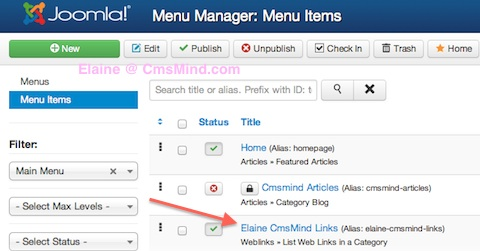 Joomla 3.0 Link Article to Joomla Menu Item - see menu item in menu manager