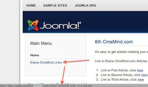 Joomla 3.0 Link Article to Joomla Menu Item - See menu link on frontend