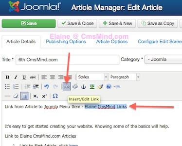 Joomla 3.0 Link Article to Joomla Menu - Edit Article Insert Link