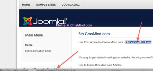Joomla 3.0 Link Article to Joomla Menu - View Article in Frontend with Link