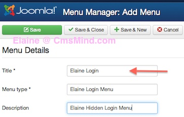 joomla 3 menus add new menu details 2 Joomla 3.0 Tutorial   How to Create a Hidden Login Form