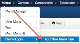 joomla 3 menus add new menu login menu items 3 Joomla 3.0 Tutorial   How to Create a Hidden Login Form