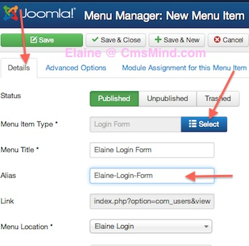 joomla 3 menus add new menu login menu items details 4 Joomla 3.0 Tutorial   How to Create a Hidden Login Form